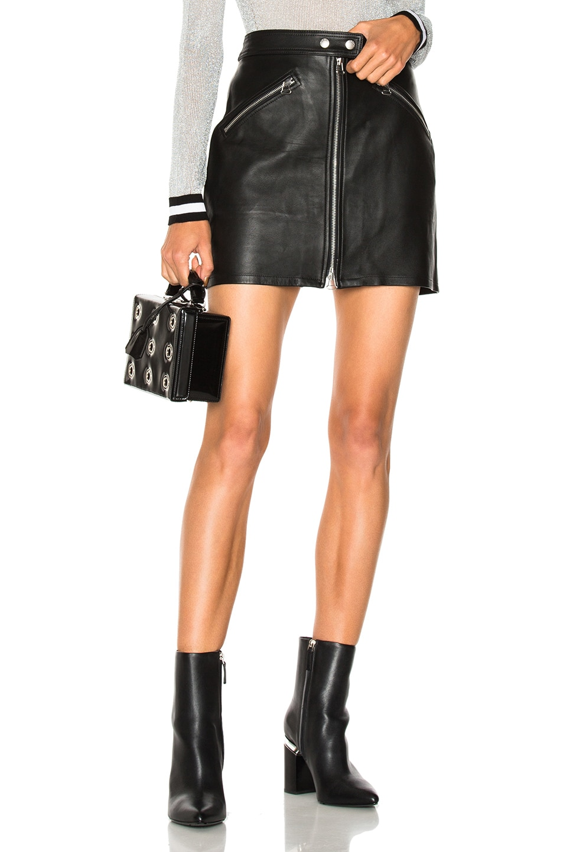 52eba45ea Image 1 of rag & bone/JEAN Racer Leather Skirt in Black