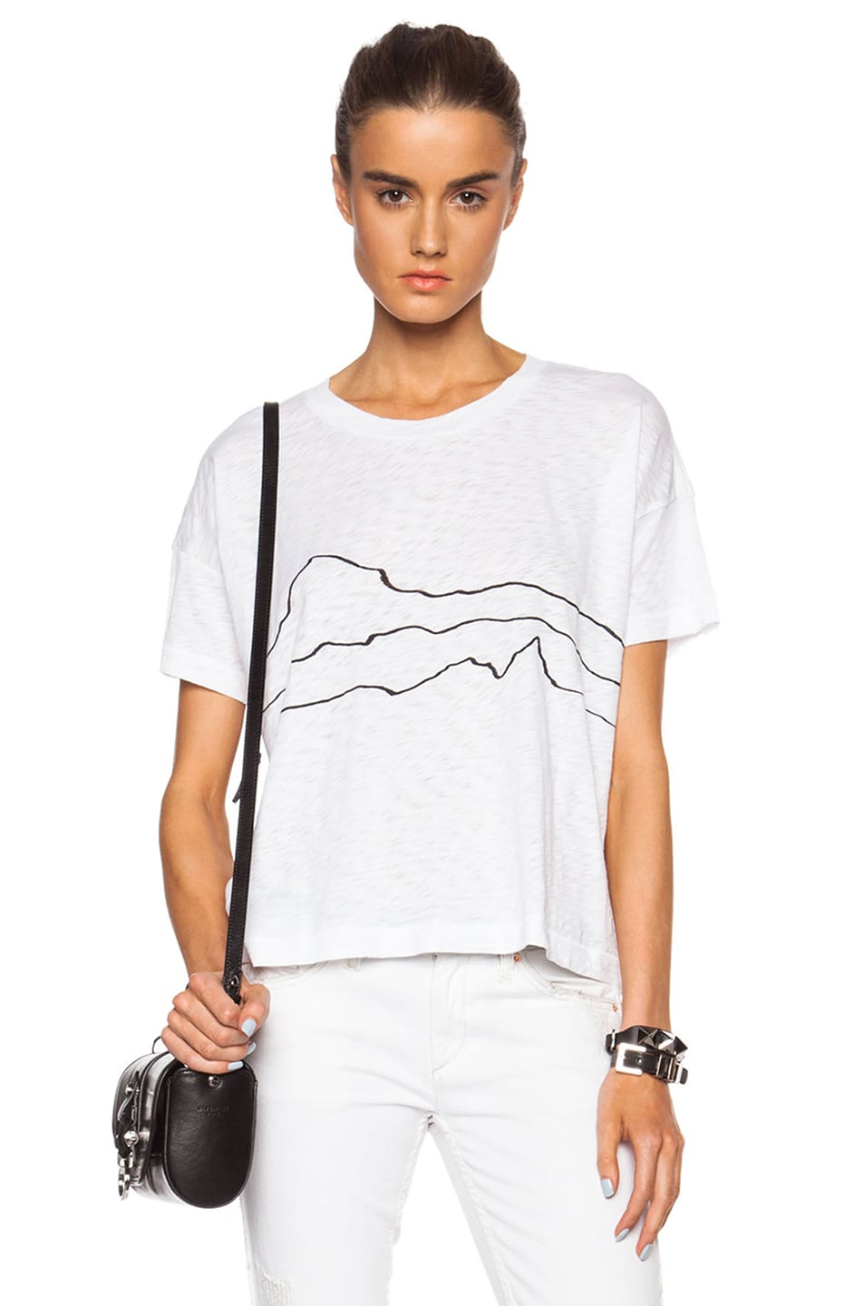 Image 1 of rag & bone/JEAN Suzanne Cotton Tee in White Line Print