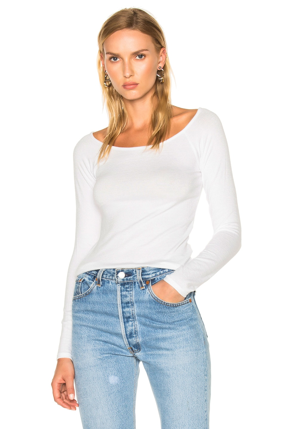 Image 1 of rag & bone/JEAN Oasis Off the Shoulder Tee in White