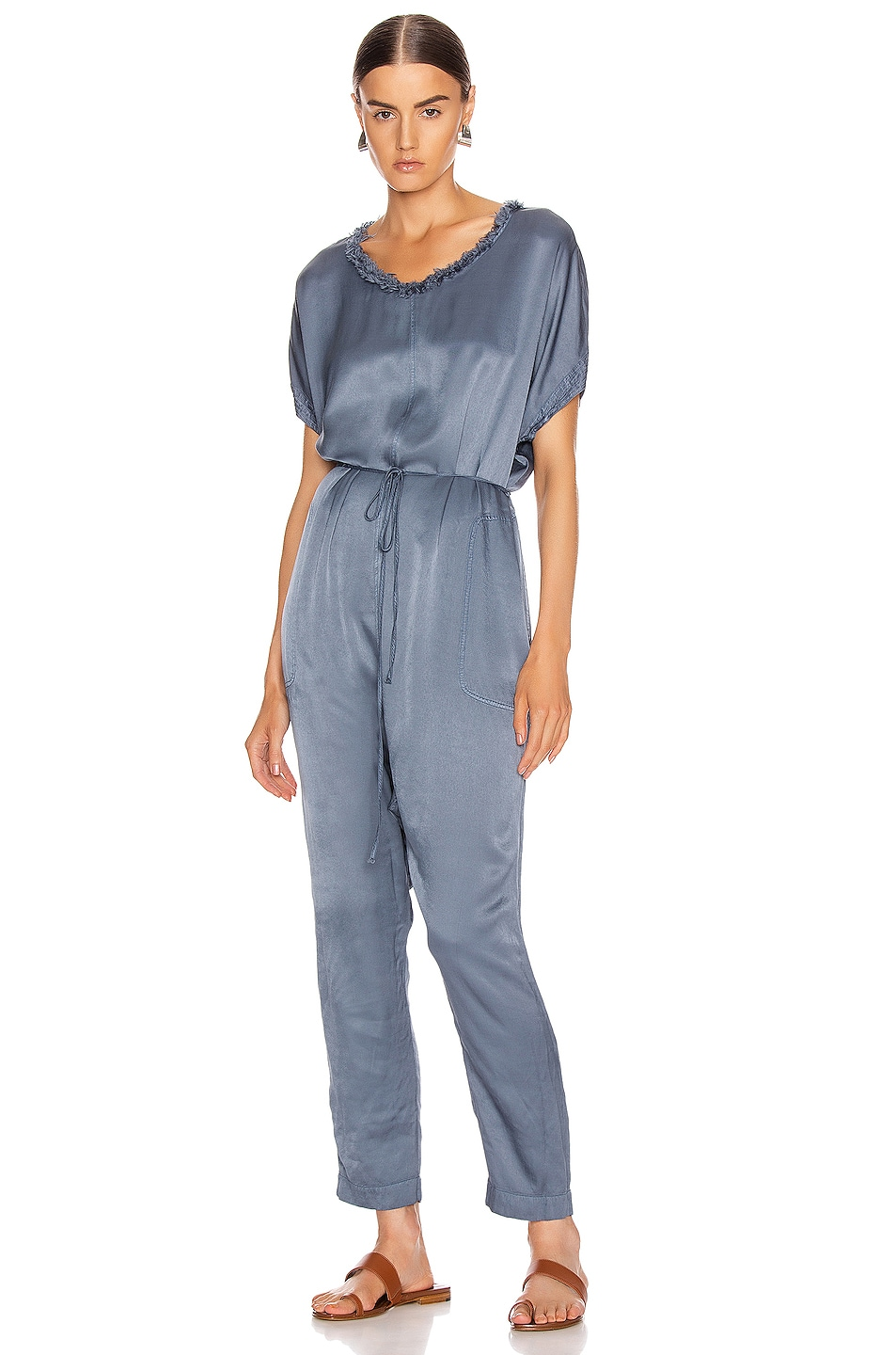 Image 1 of Raquel Allegra Pebble Satin Jumpsuit in Fog Blue