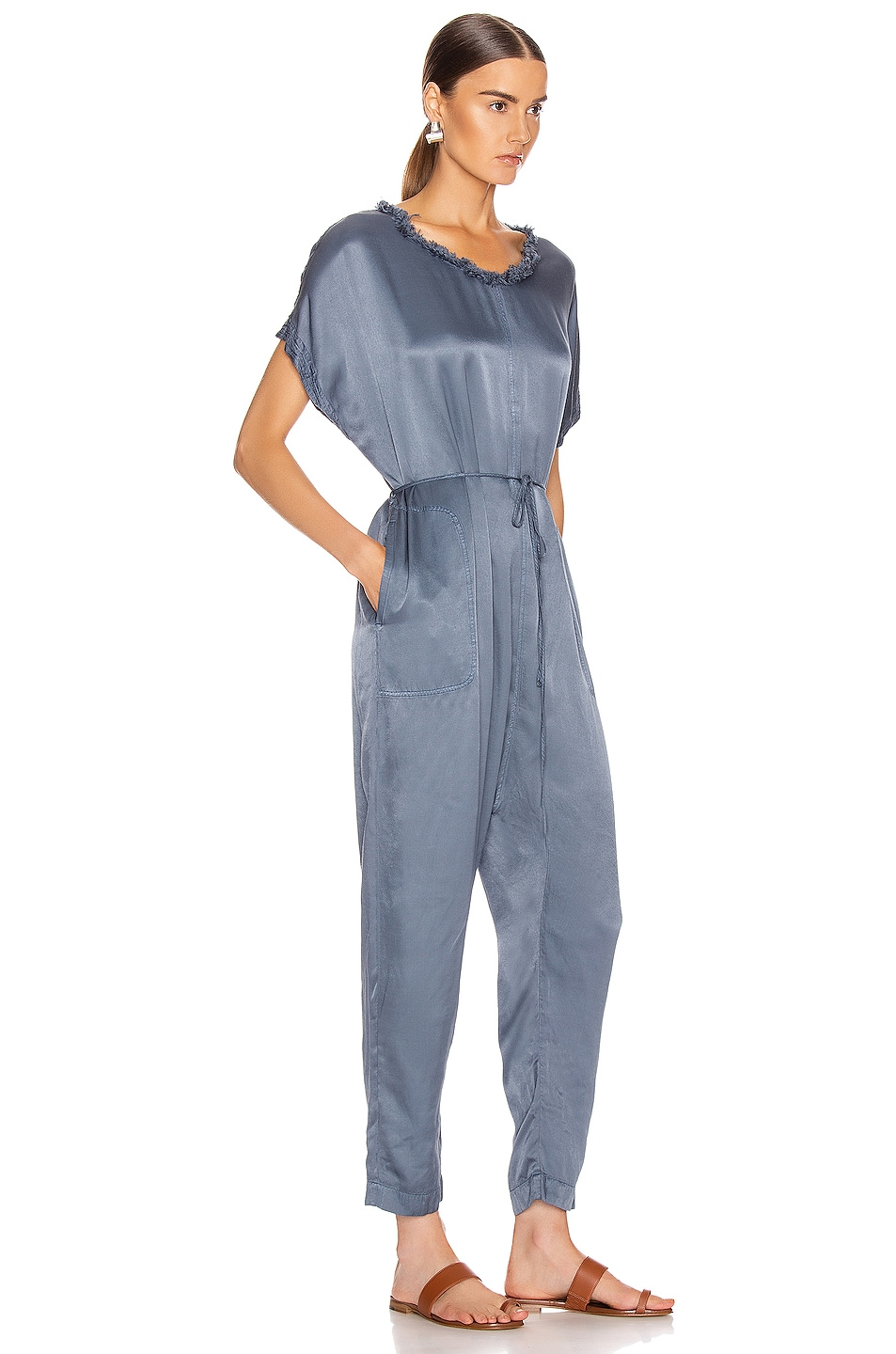 Image 2 of Raquel Allegra Pebble Satin Jumpsuit in Fog Blue