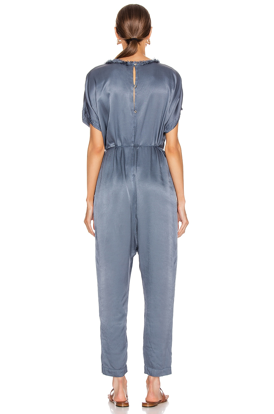 Image 3 of Raquel Allegra Pebble Satin Jumpsuit in Fog Blue