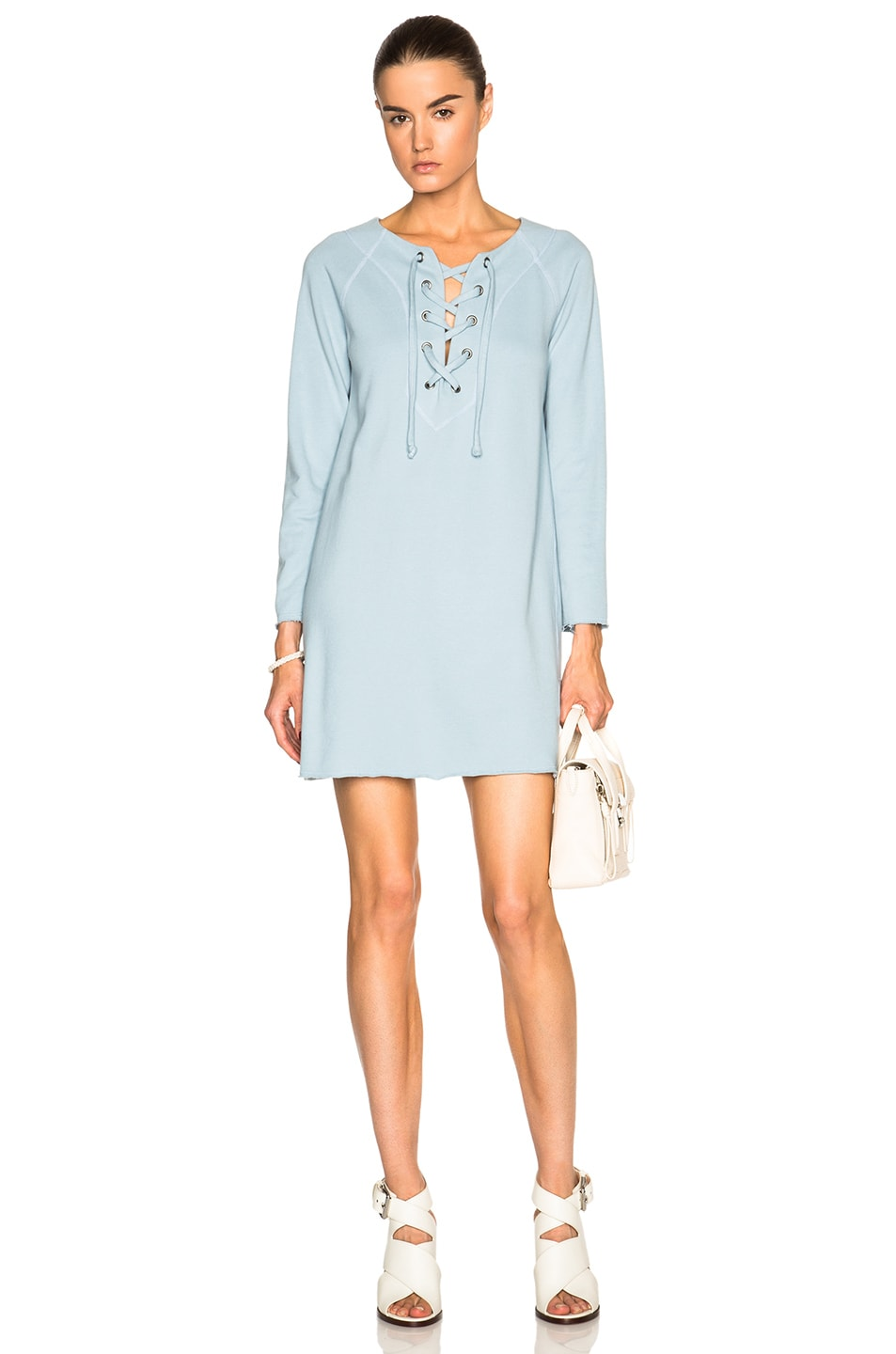 Image 1 of Raquel Allegra Lace Front Dress in Dusty Blue
