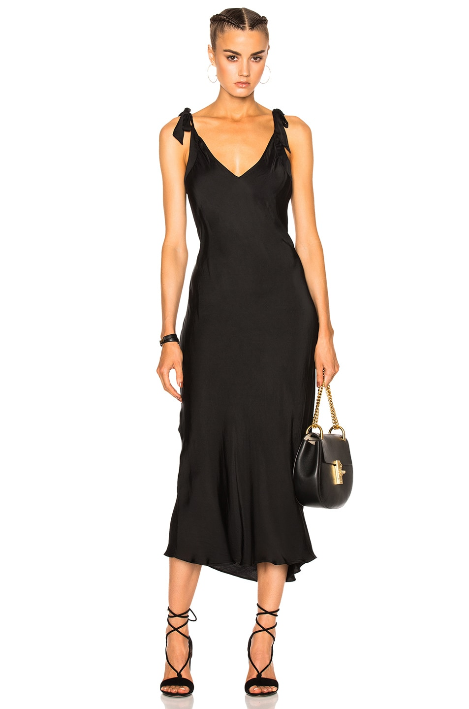 Image 1 of Raquel Allegra Bias Bow Maxi Dress in Black