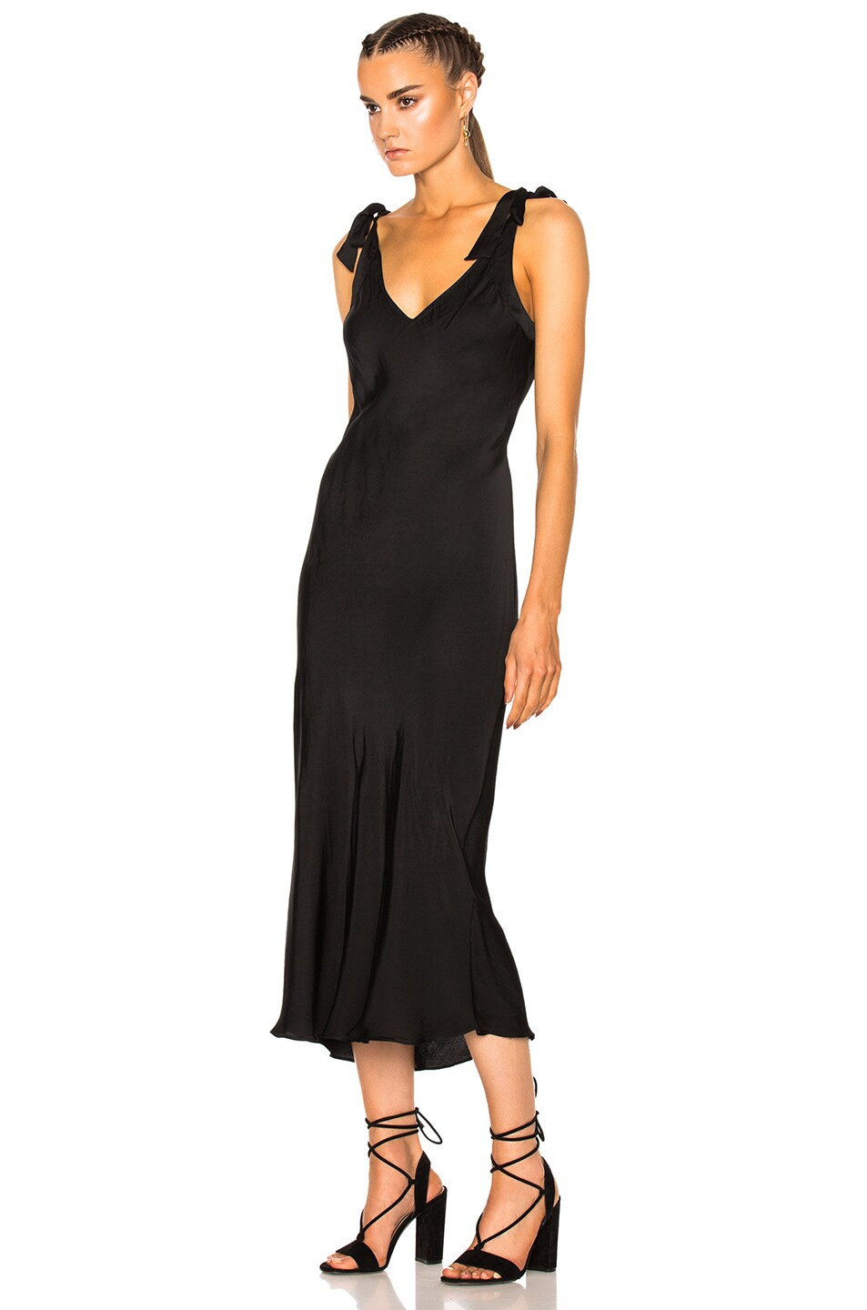 Image 2 of Raquel Allegra Bias Bow Maxi Dress in Black