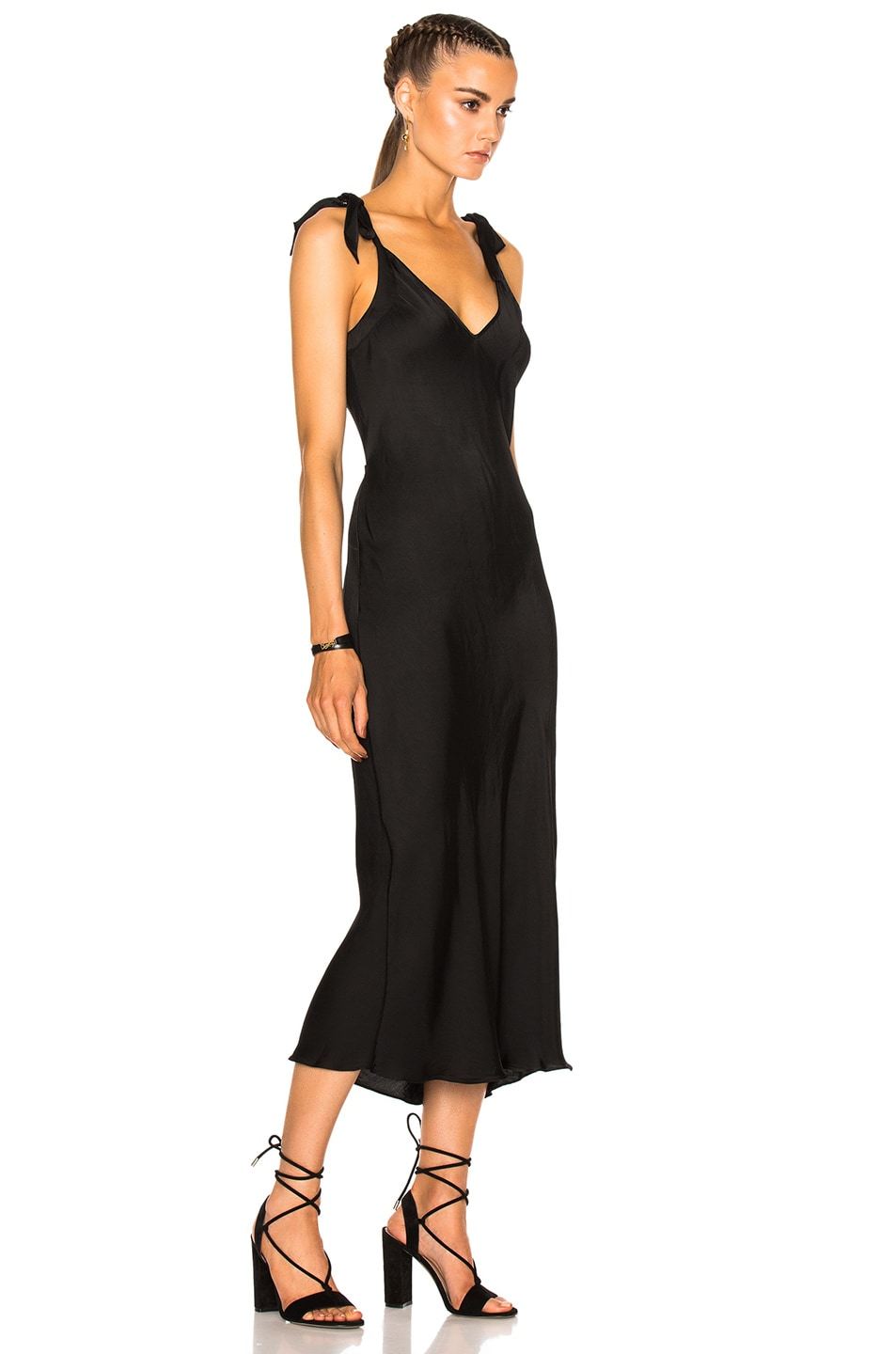Image 3 of Raquel Allegra Bias Bow Maxi Dress in Black
