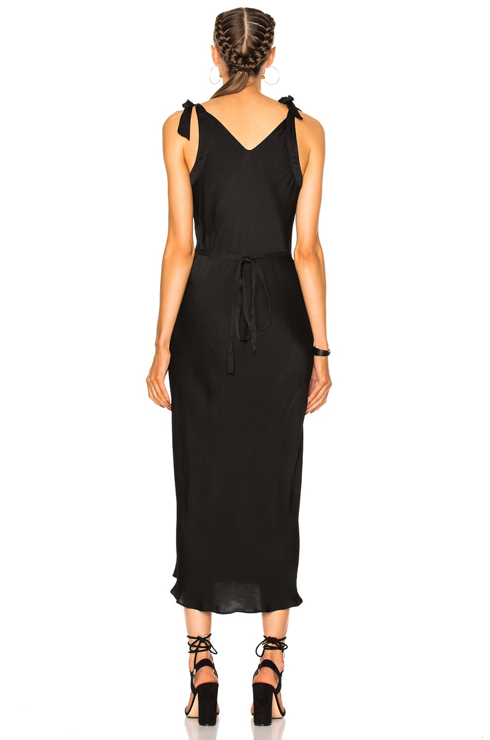 Image 4 of Raquel Allegra Bias Bow Maxi Dress in Black