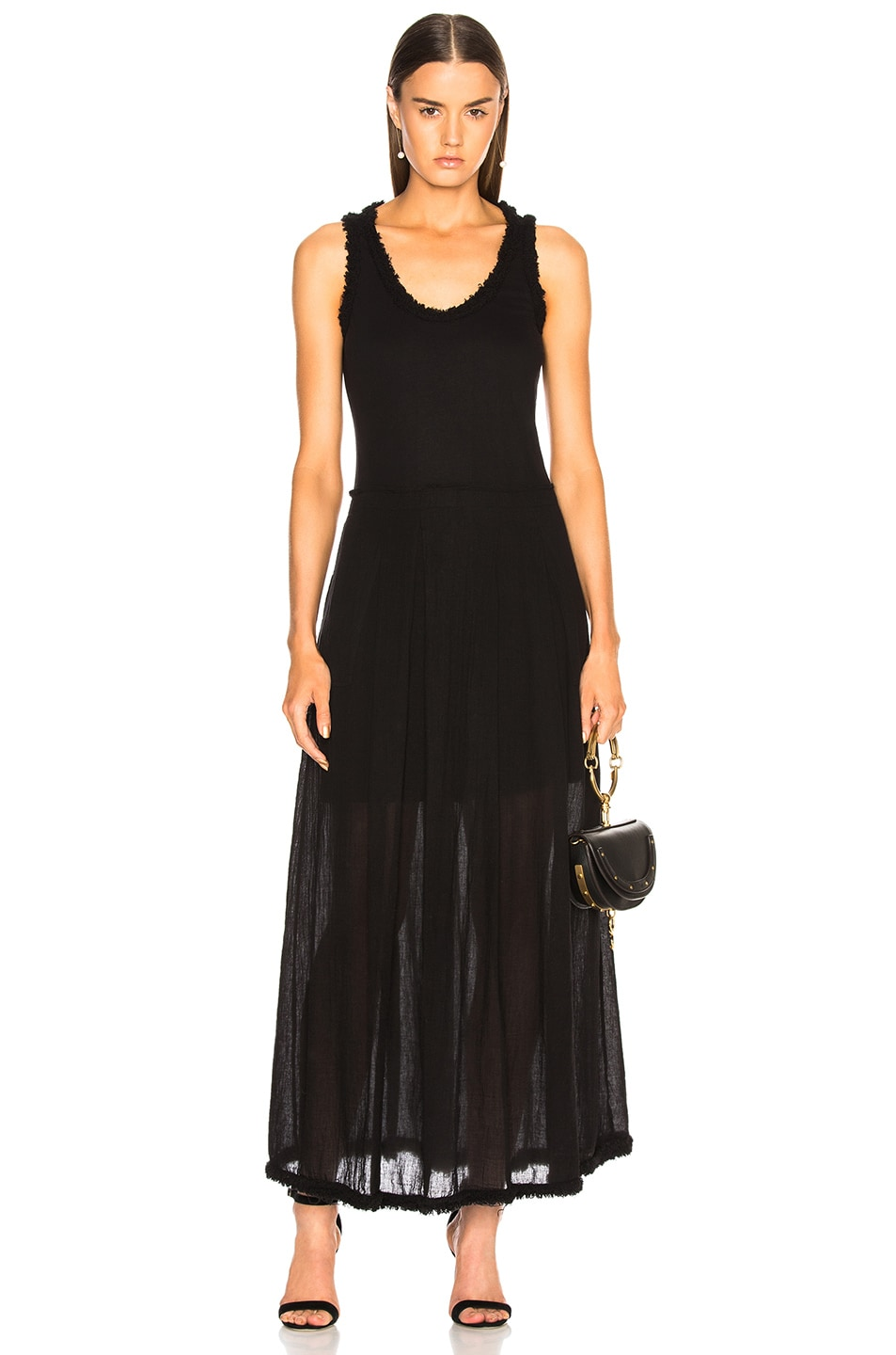 Raquel Allegra Pleated Medley Dress in Black