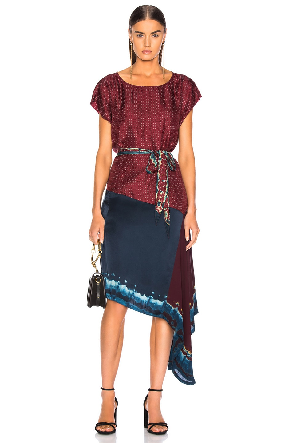 Image 1 of Raquel Allegra Scarf Dress in Crimson Tie Dye