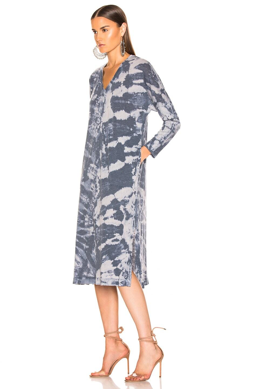 Image 3 of Raquel Allegra Long Sleeve V Neck Caftan in Water Tie Dye