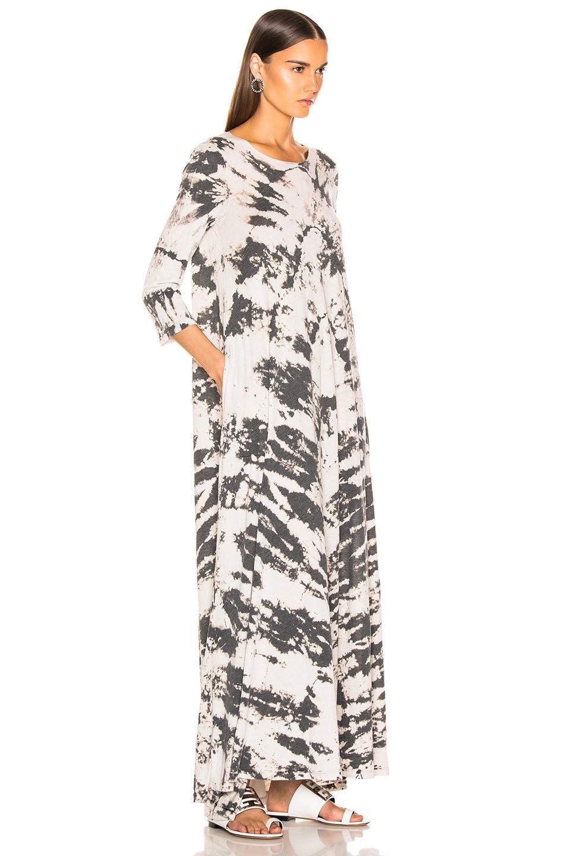 Image 2 of Raquel Allegra Half Sleeve Drama Maxi Dress in Charcoal Tie Dye