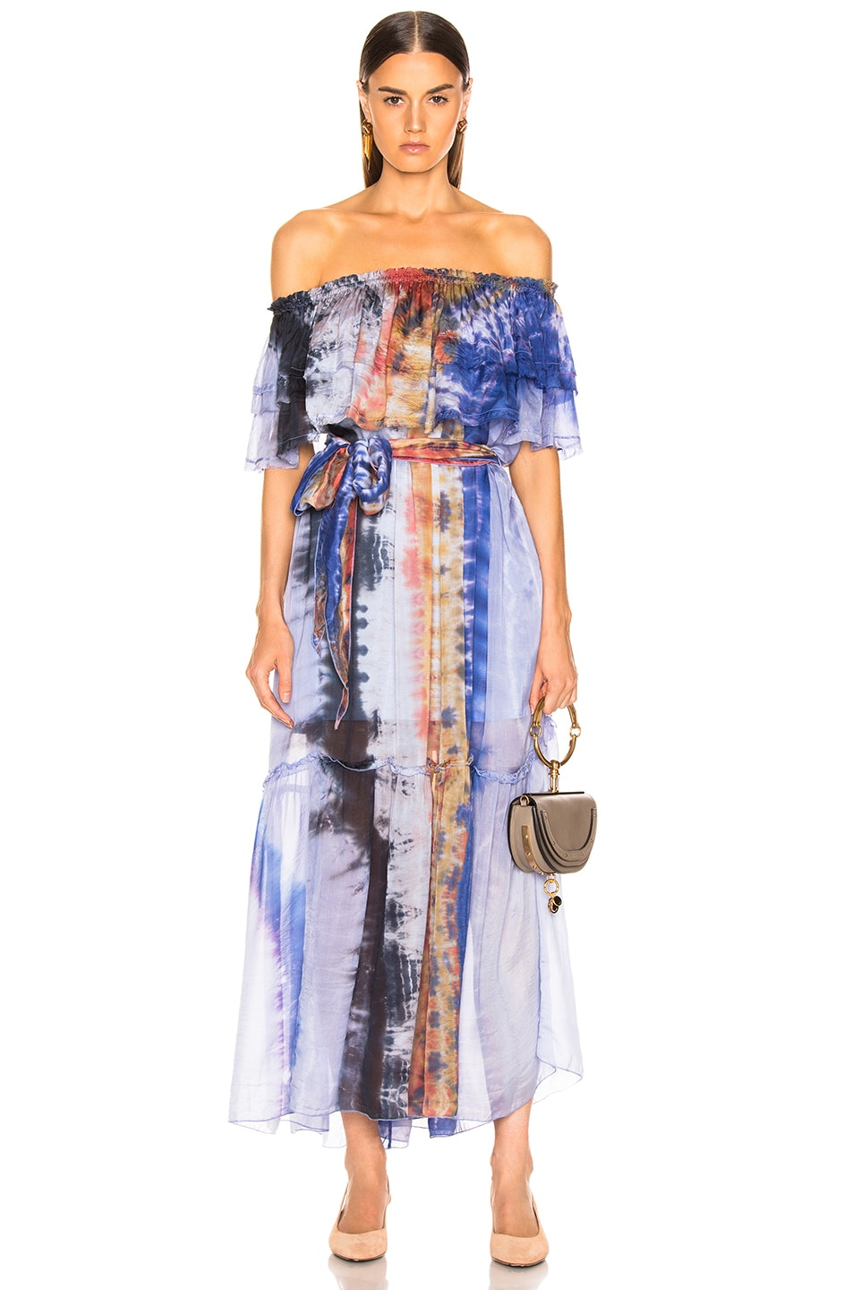 Image 1 of Raquel Allegra Ruffle Maxi Dress in Waterfall Tie Dye