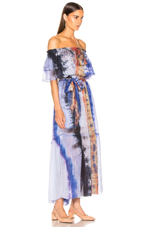 Image 2 of Raquel Allegra Ruffle Maxi Dress in Waterfall Tie Dye