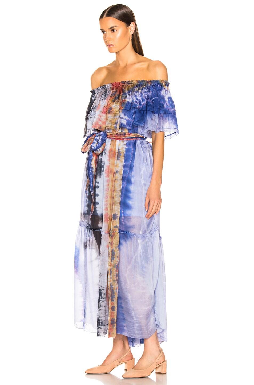 Image 3 of Raquel Allegra Ruffle Maxi Dress in Waterfall Tie Dye