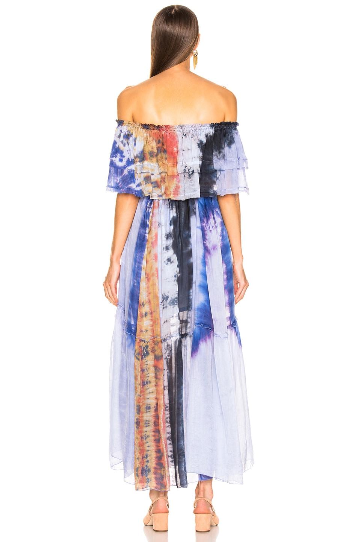Image 4 of Raquel Allegra Ruffle Maxi Dress in Waterfall Tie Dye