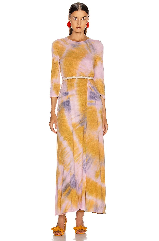 Image 1 of Raquel Allegra 3/4 Sleeve Drama Maxi Dress in Solar Tie Dye