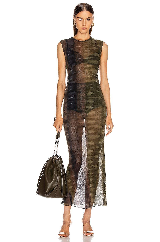 Image 1 of Raquel Allegra Mesh Body Con Dress in Forest Camo Tie Dye