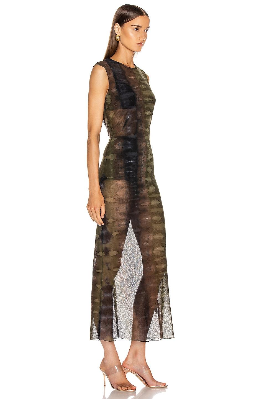 Image 2 of Raquel Allegra Mesh Body Con Dress in Forest Camo Tie Dye