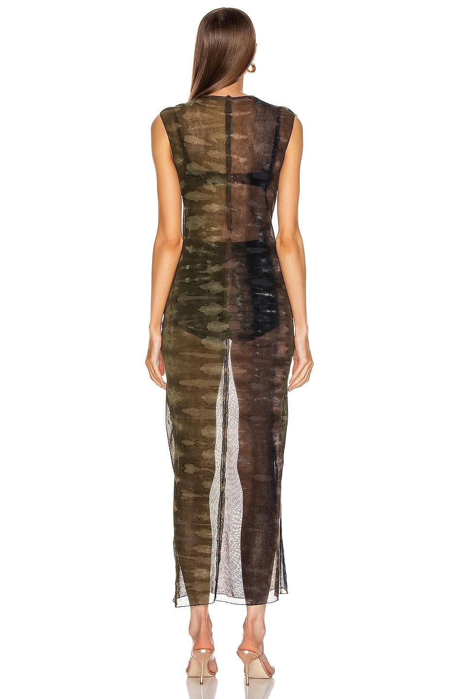 Image 3 of Raquel Allegra Mesh Body Con Dress in Forest Camo Tie Dye