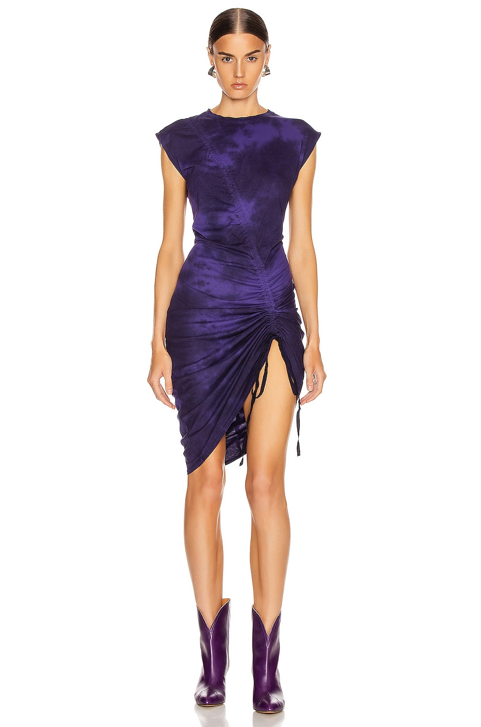 Image 1 of Raquel Allegra Gathered Tie Midi Dress in Purple Tie Dye