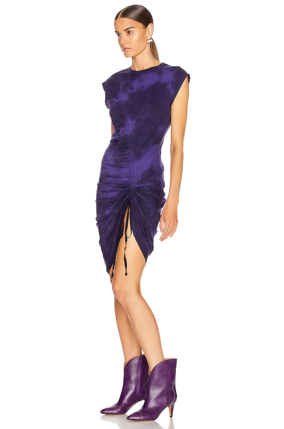 Image 3 of Raquel Allegra Gathered Tie Midi Dress in Purple Tie Dye