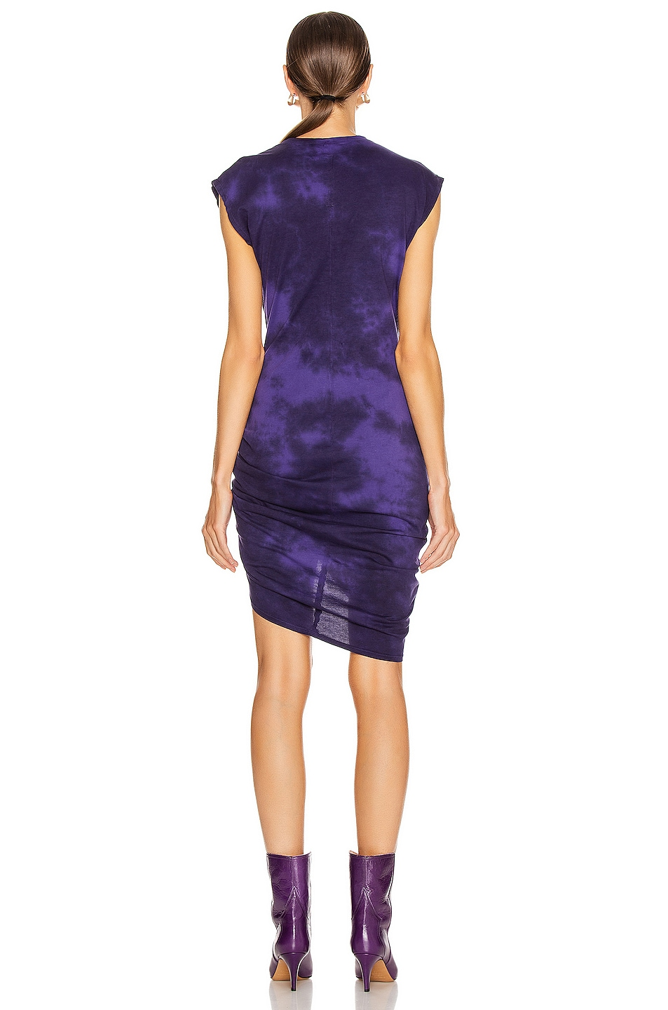 Image 4 of Raquel Allegra Gathered Tie Midi Dress in Purple Tie Dye