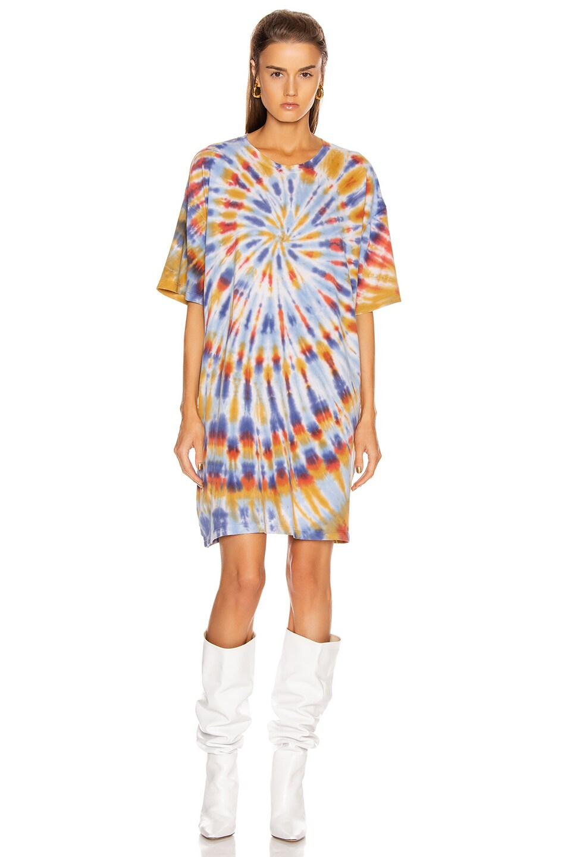 Image 2 of Raquel Allegra T Shirt Dress in Rainbow Tie Dye