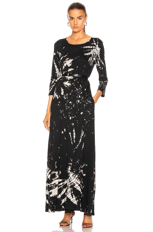 Image 1 of Raquel Allegra Half Sleeve Drama Maxi Dress in Black Constellation Tie Dye