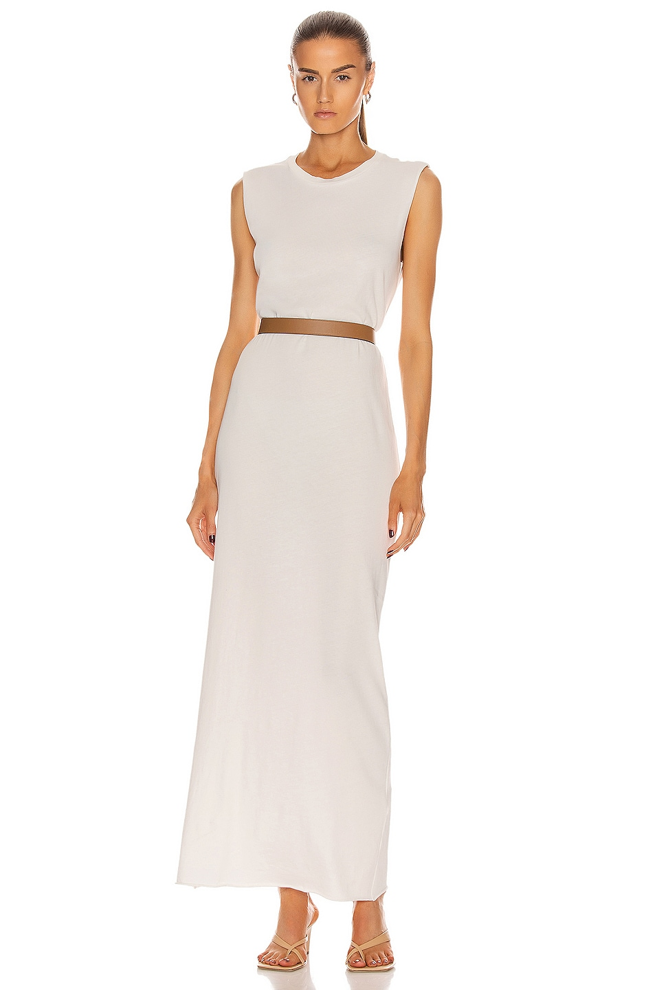 Image 1 of Raquel Allegra Muscle Maxi Dress in White