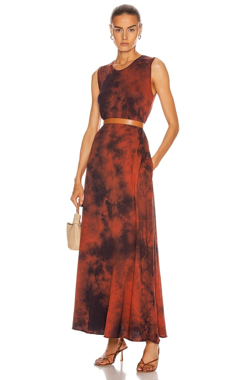 Image 1 of Raquel Allegra Sleeveless Drama Maxi Dress in Red Tie Dye