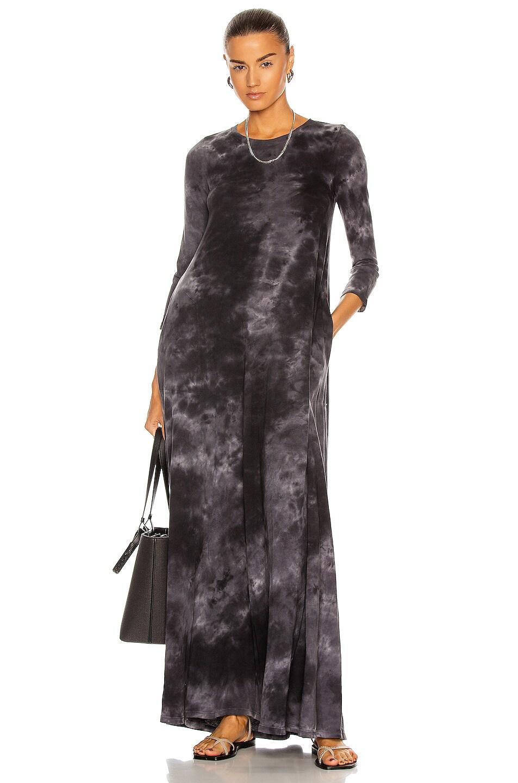 Image 1 of Raquel Allegra Drama Maxi Dress in Black Camo Tie Dye