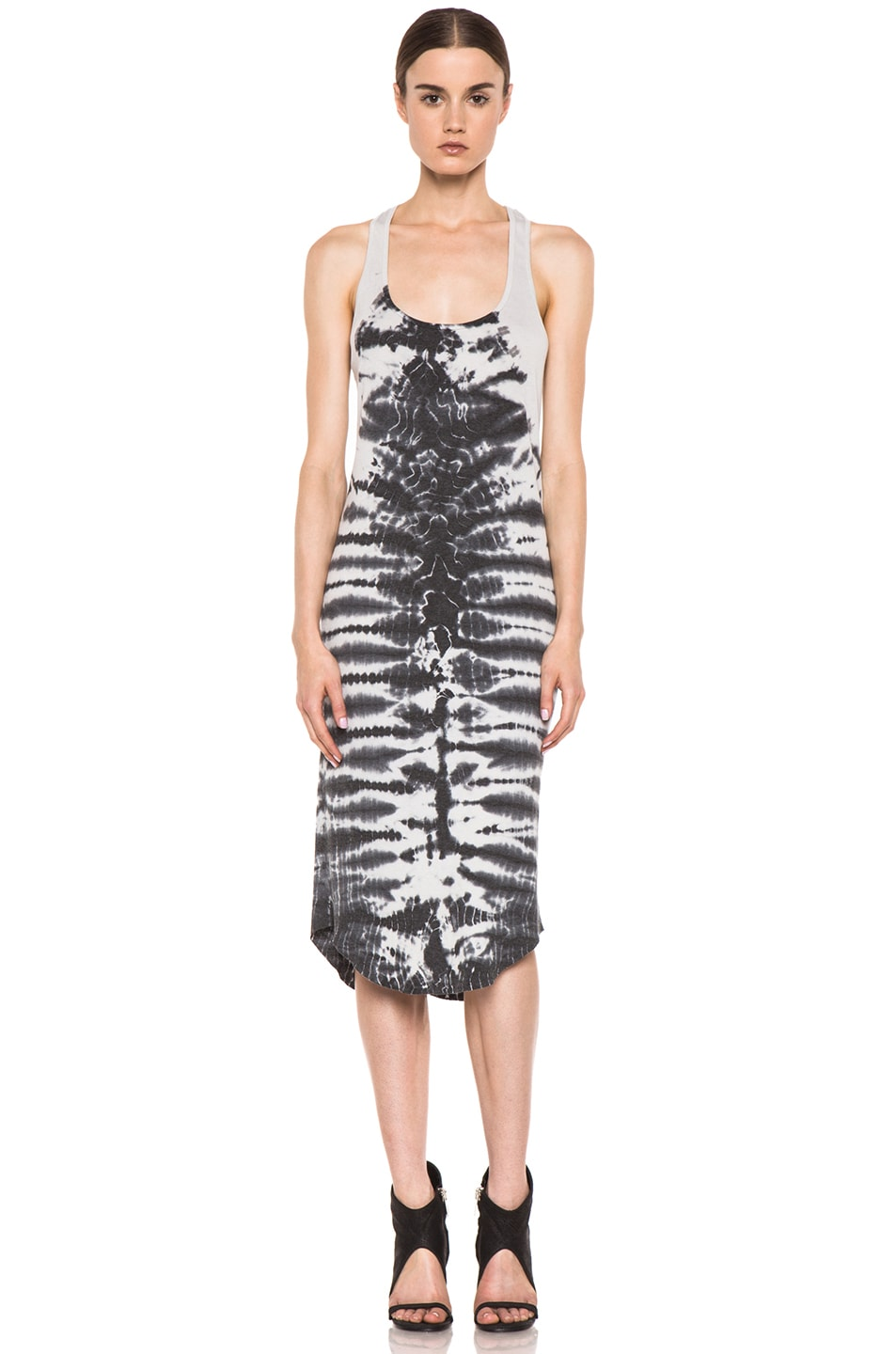Image 1 of Raquel Allegra Rib Tank Tie Dye Dress in Fossil Dirty White