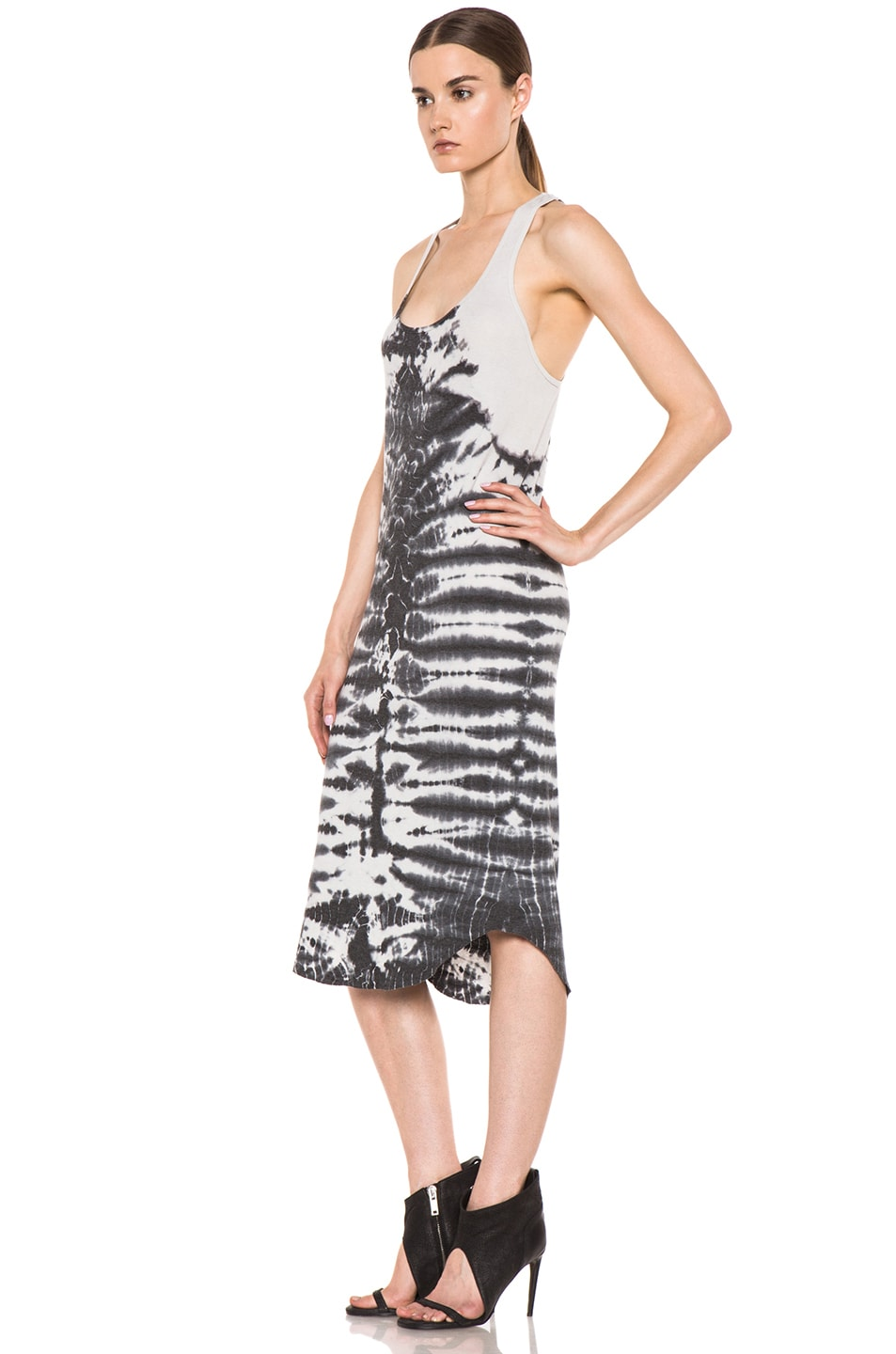 Image 2 of Raquel Allegra Rib Tank Tie Dye Dress in Fossil Dirty White