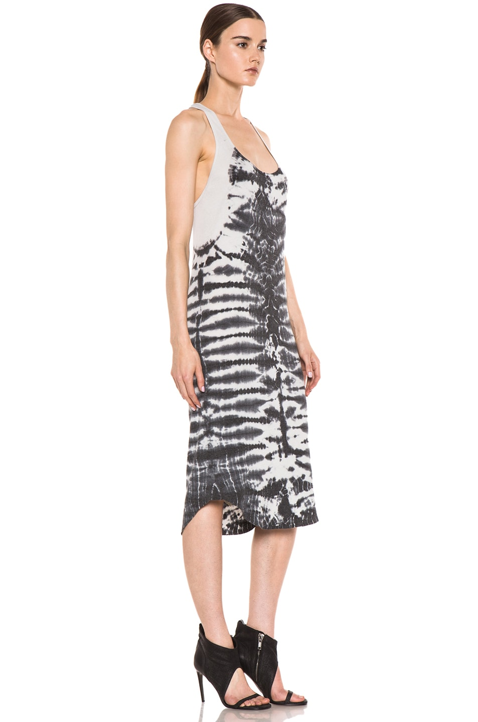 Image 3 of Raquel Allegra Rib Tank Tie Dye Dress in Fossil Dirty White