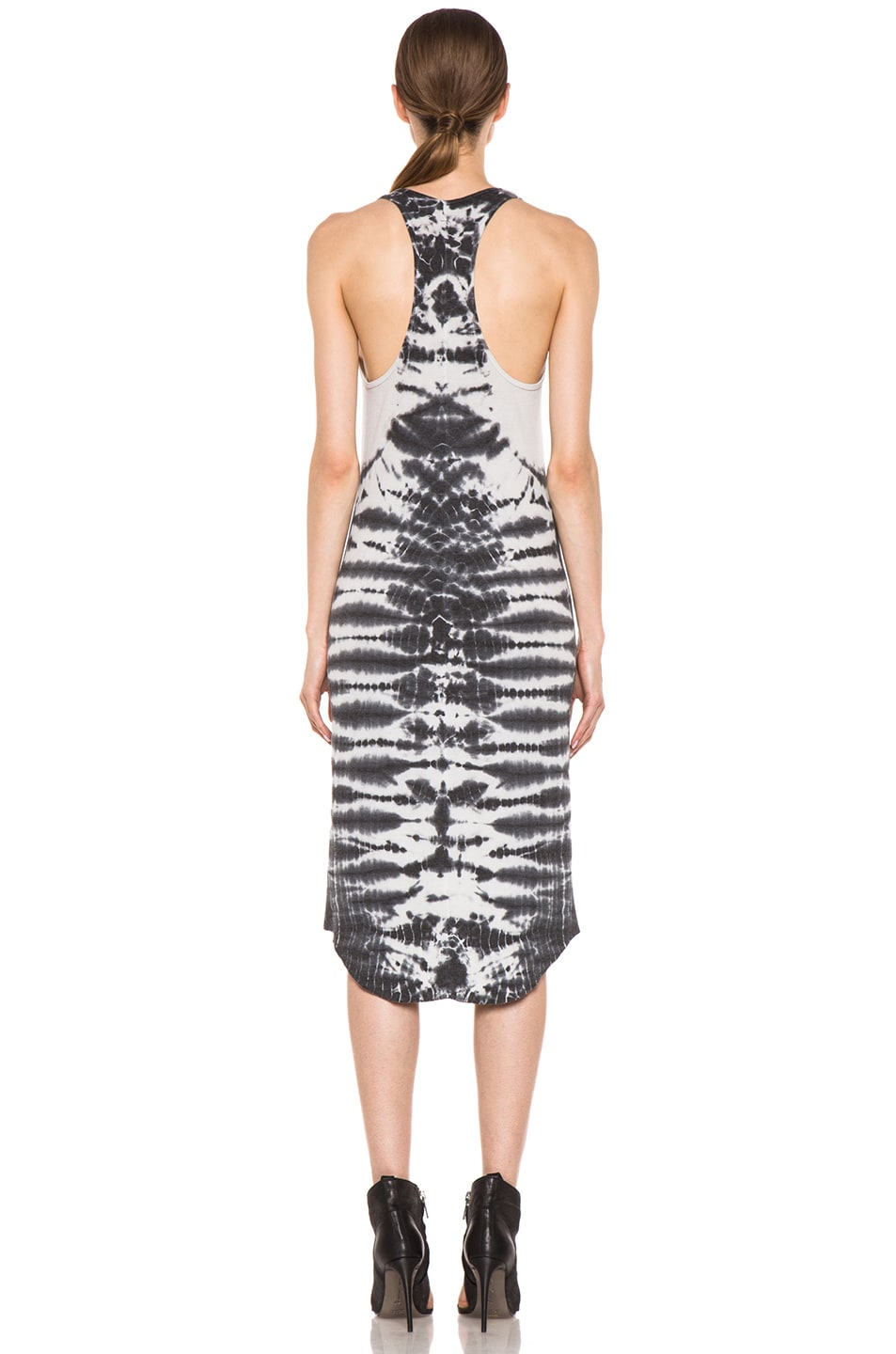 Image 4 of Raquel Allegra Rib Tank Tie Dye Dress in Fossil Dirty White