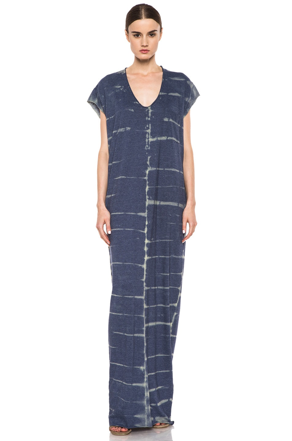 Image 1 of Raquel Allegra Deconstructed Jersey Caftan Dress in X-Ray Blue