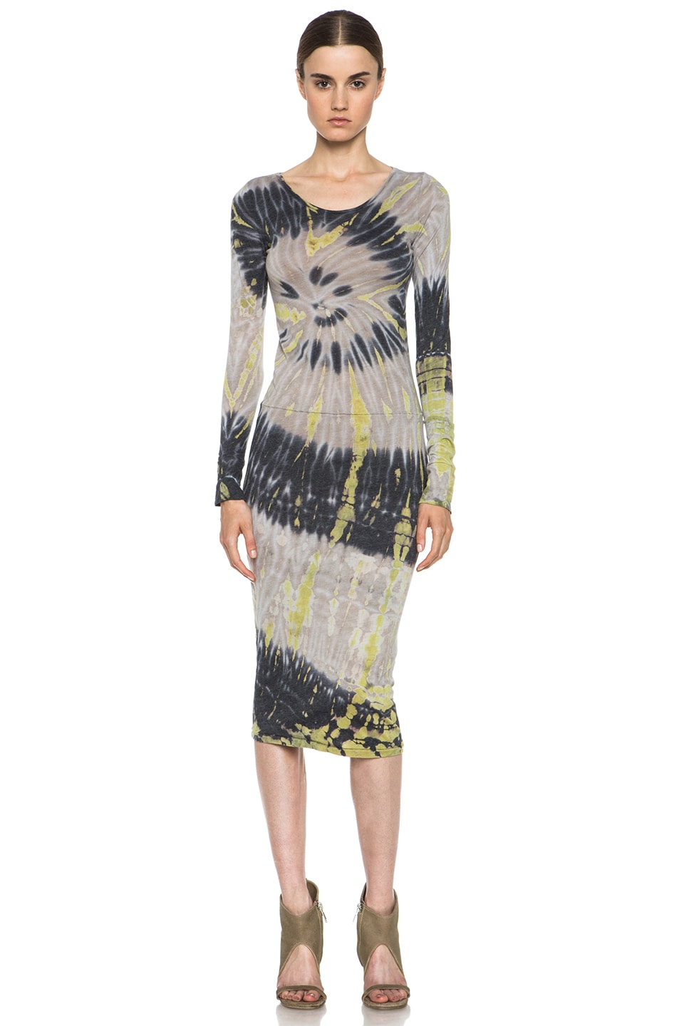 Image 1 Of Raquel Allegra Deconstructed Dress In Shell Tie Dye