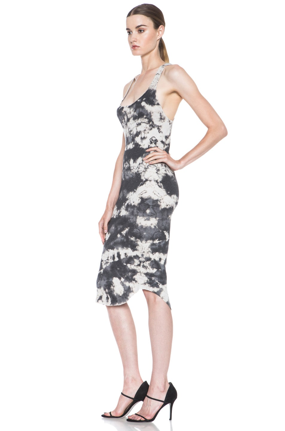 Image 2 of Raquel Allegra Deconstructed Jersey Rib Tank Dress in Marble Black