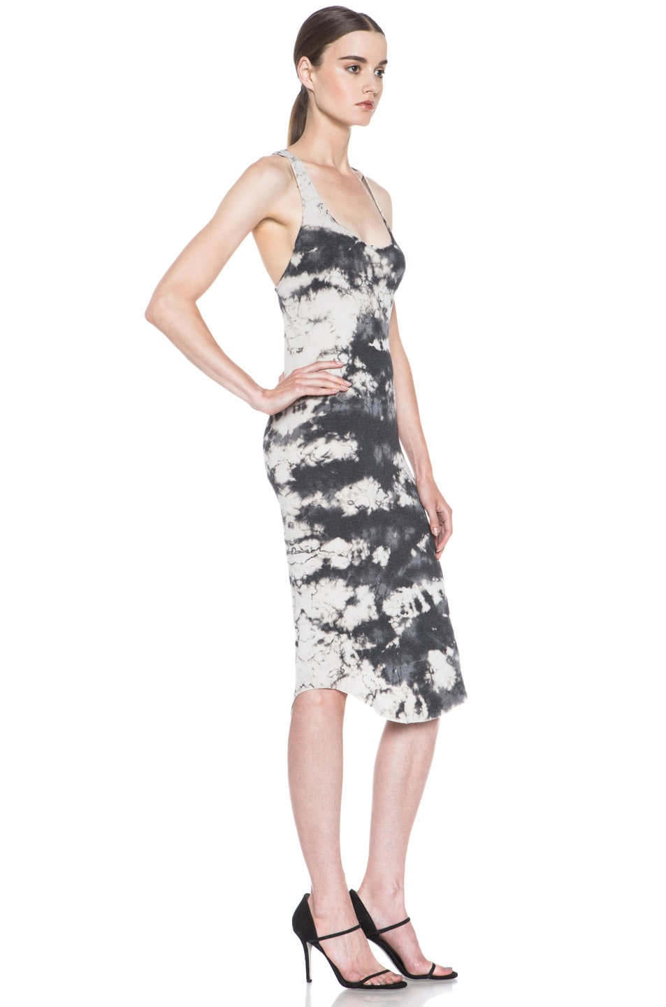 Image 3 of Raquel Allegra Deconstructed Jersey Rib Tank Dress in Marble Black