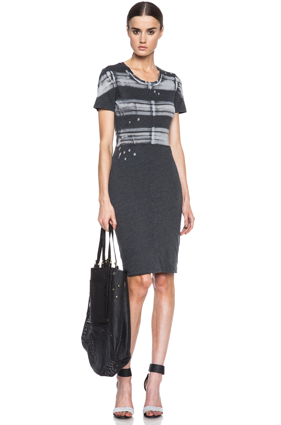 Image 1 of Raquel Allegra Cotton-Blend Cocktail Dress in Painter Stripe Black