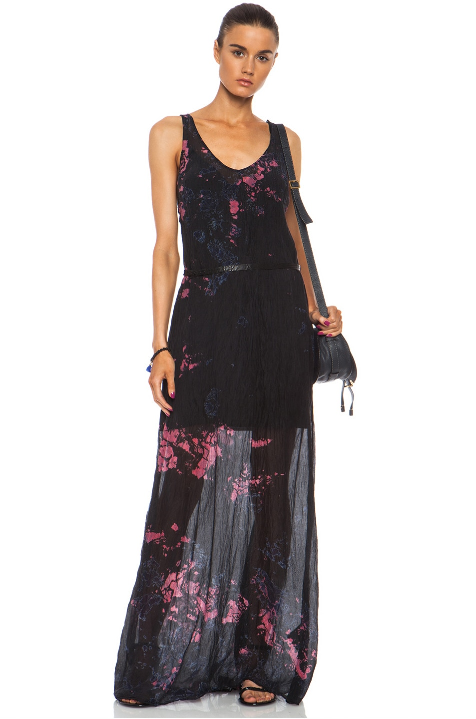 1c14c2023f91 Image 1 of Raquel Allegra Maxi Silk Tank Dress in Cosmic Black