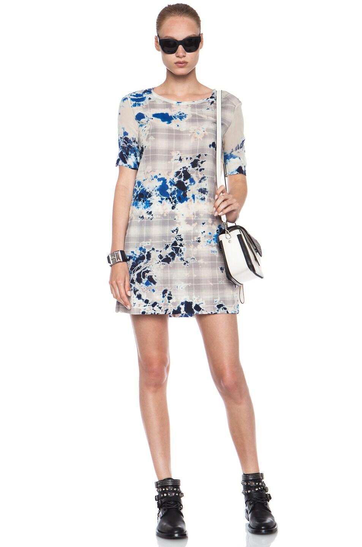 Image 1 of Raquel Allegra Plaid Tie Dye Cotton Dress in Blue Floral