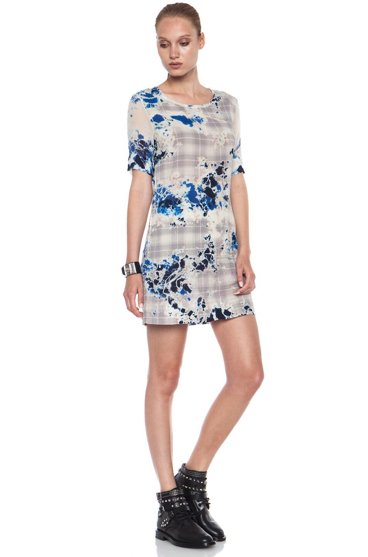 Image 3 of Raquel Allegra Plaid Tie Dye Cotton Dress in Blue Floral