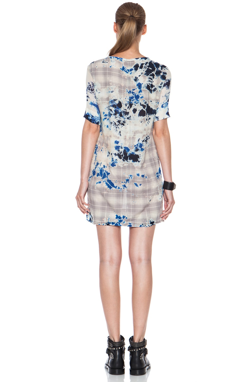 Image 4 of Raquel Allegra Plaid Tie Dye Cotton Dress in Blue Floral
