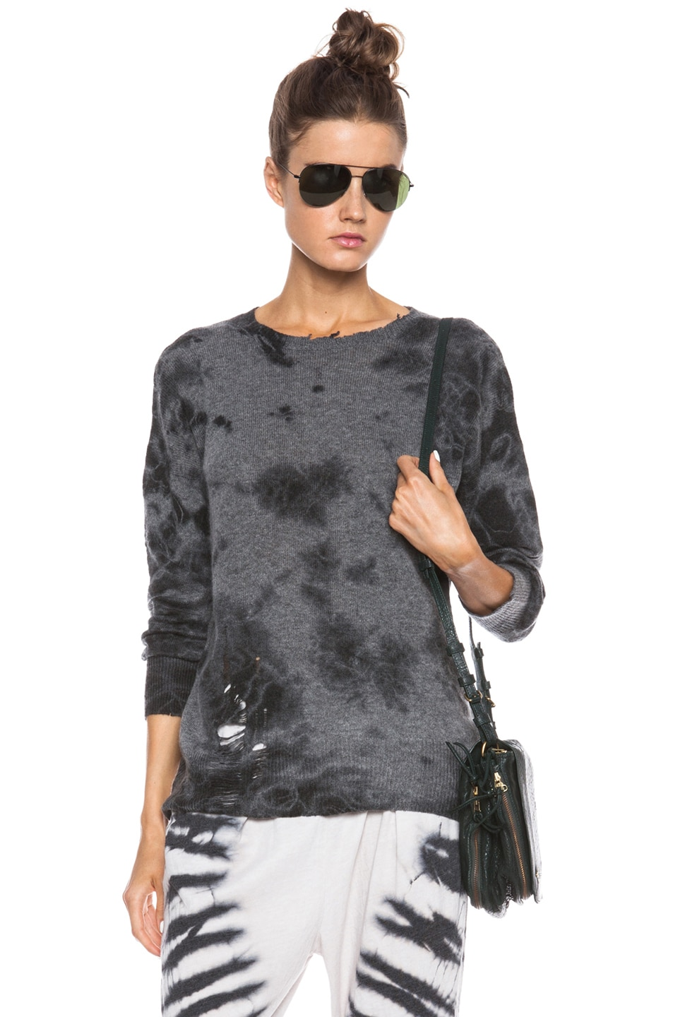 Image 1 of Raquel Allegra Cashmere Pullover in Tie Dye Dark Grey