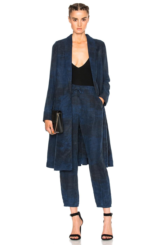 Image 1 of Raquel Allegra Swing Duster Coat in Indigo Tie Dye