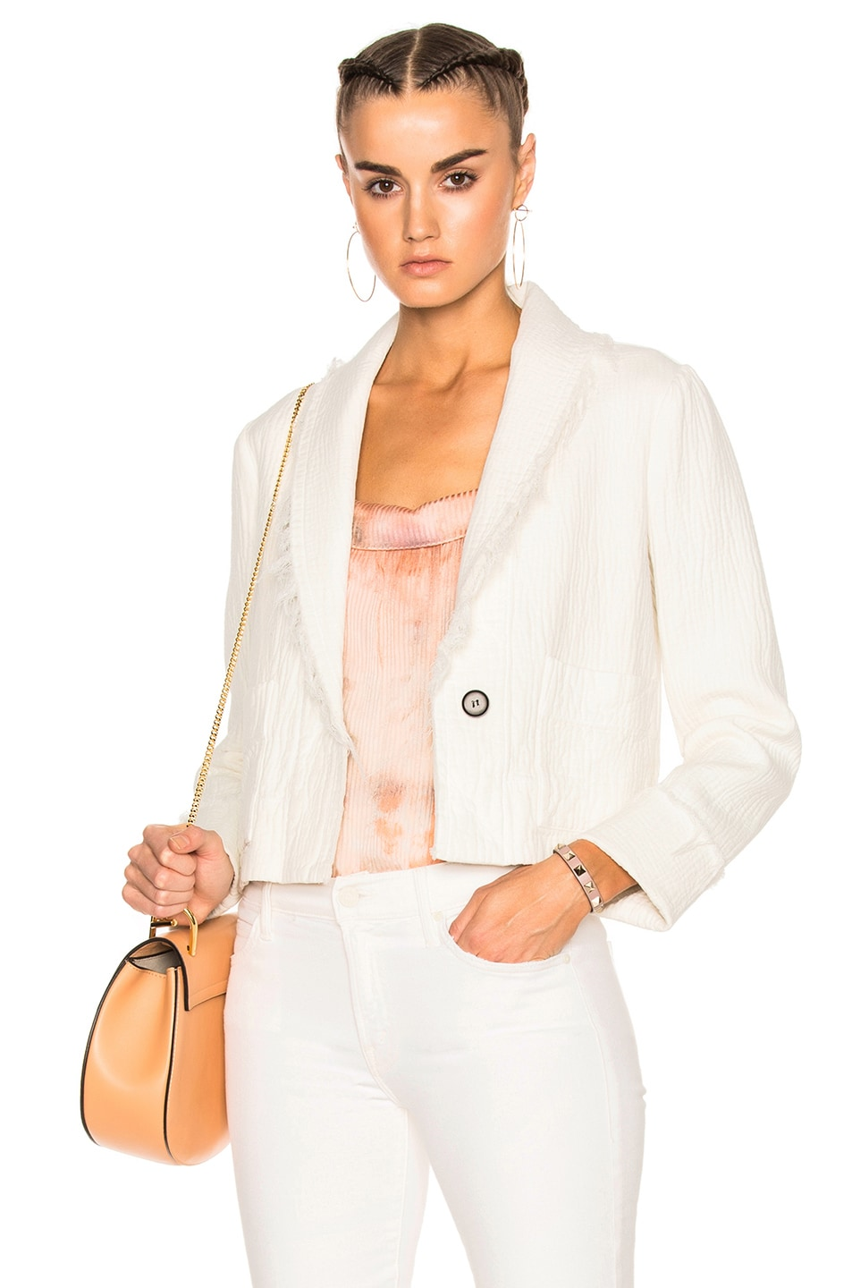 Image 1 of Raquel Allegra Cropped Blazer in Dirty White