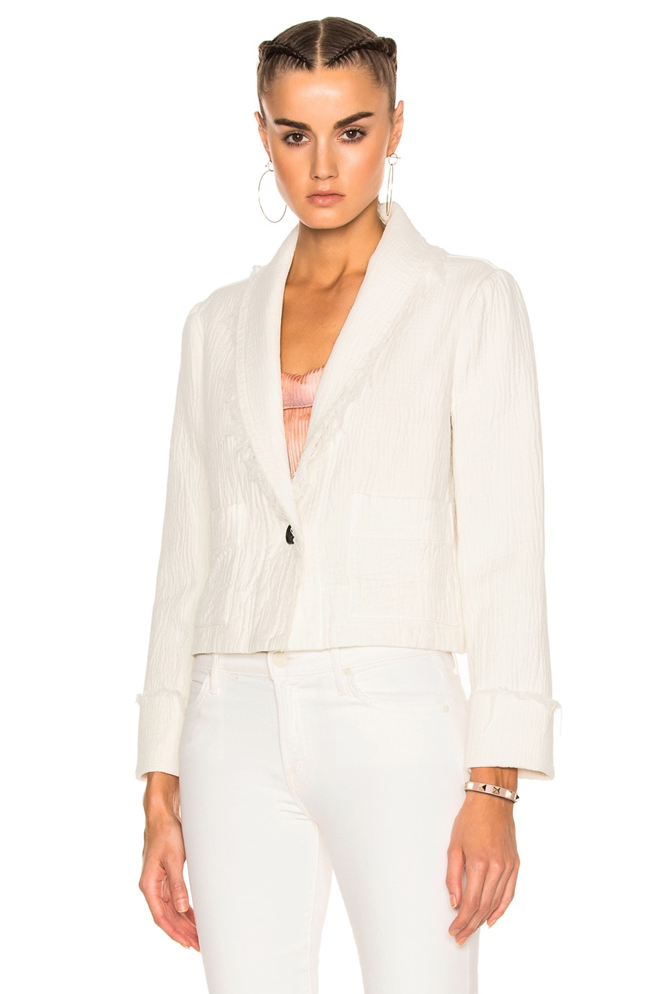 Image 2 of Raquel Allegra Cropped Blazer in Dirty White