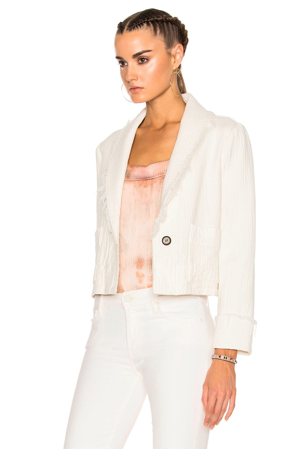 Image 3 of Raquel Allegra Cropped Blazer in Dirty White