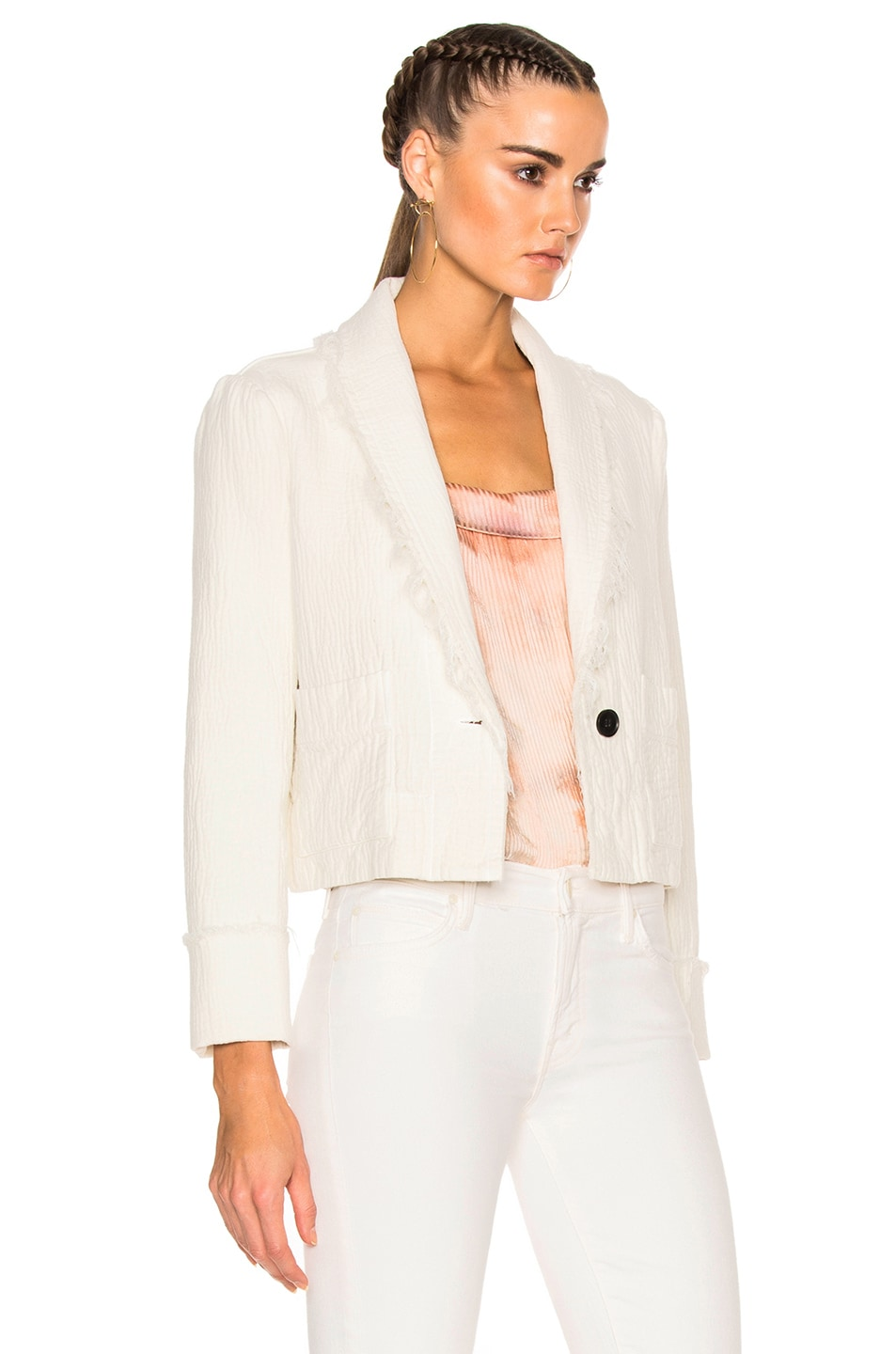 Image 4 of Raquel Allegra Cropped Blazer in Dirty White